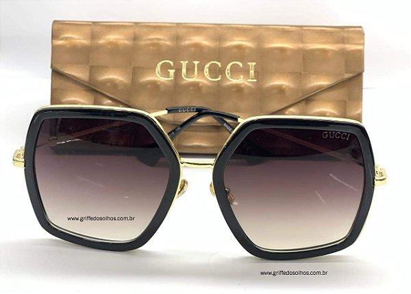 Óculos de Sol Gucci Preto GG0106S 001 GG 0106S