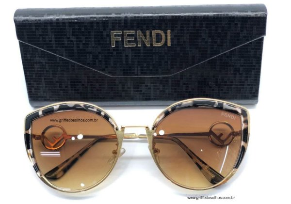Óculos de Sol -  Fendi Ff 0290 S Gatinho -  Dourado/ Animal Print