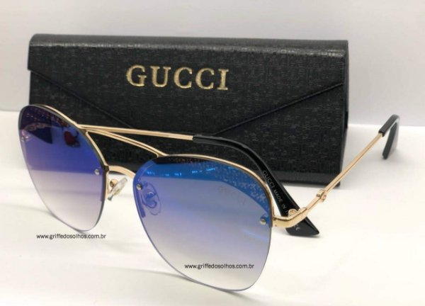 Óculos de Sol Gucci Metalic Espelhado