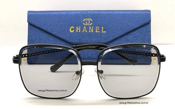 Óculos Chanel Corrente - Quadrado Lente Transparente