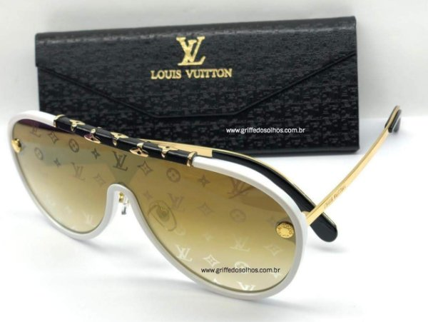 Louis Vuitton LV  Máscara Aviador Dourado  - Óculos de Sol Unissex / Lente Monogram Armação Branca