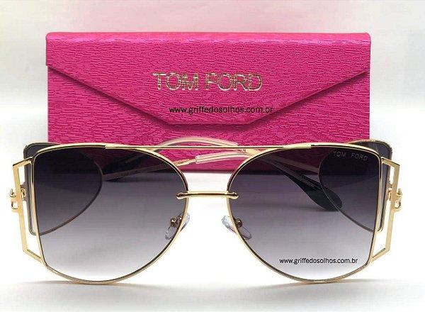 Tom Ford Maxi Óculos   - Oculos de Sol / Armação Dourada Leve Vazado