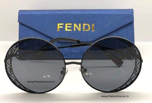Fendi Redondo  Óculos - Oculos de Sol / Armação Preto Vazado