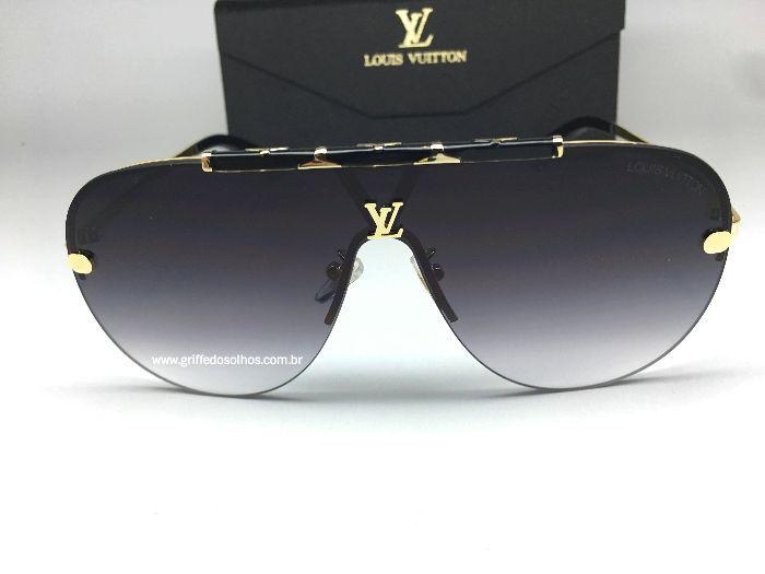 Louis Vuitton LV  Máscara Aviador Dourado  - Óculos de Sol Unissex / Preto