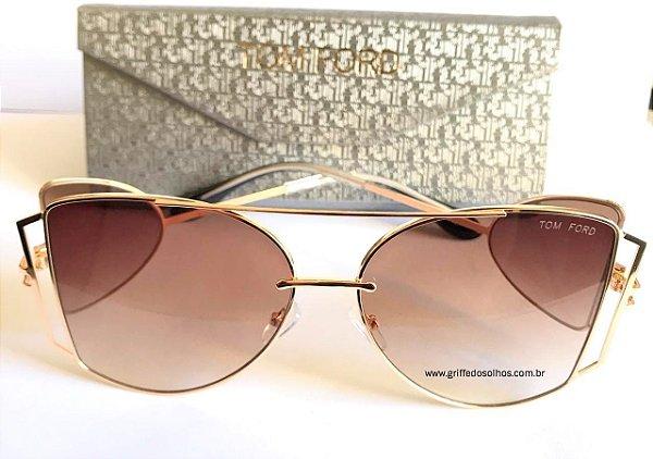 tom-ford-maxi-oculos-de-sol-armacao-dourada-leve-vazado-marrom-degrade