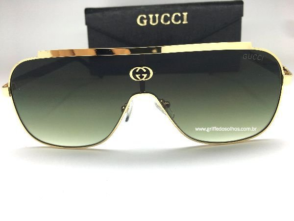 Óculos de Sol GG Gucci Máscara - Lente Verde Armação Dourada