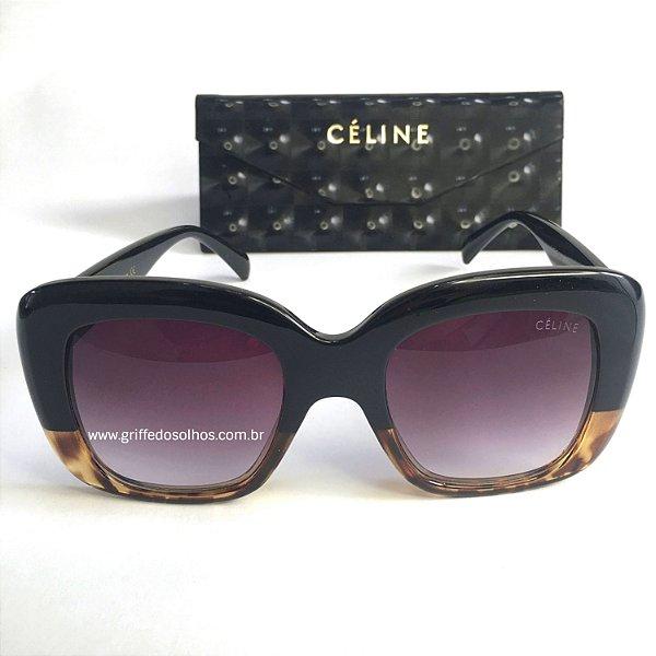 Celine Stella 41433  Preto Tartaruga - Oculos de Sol