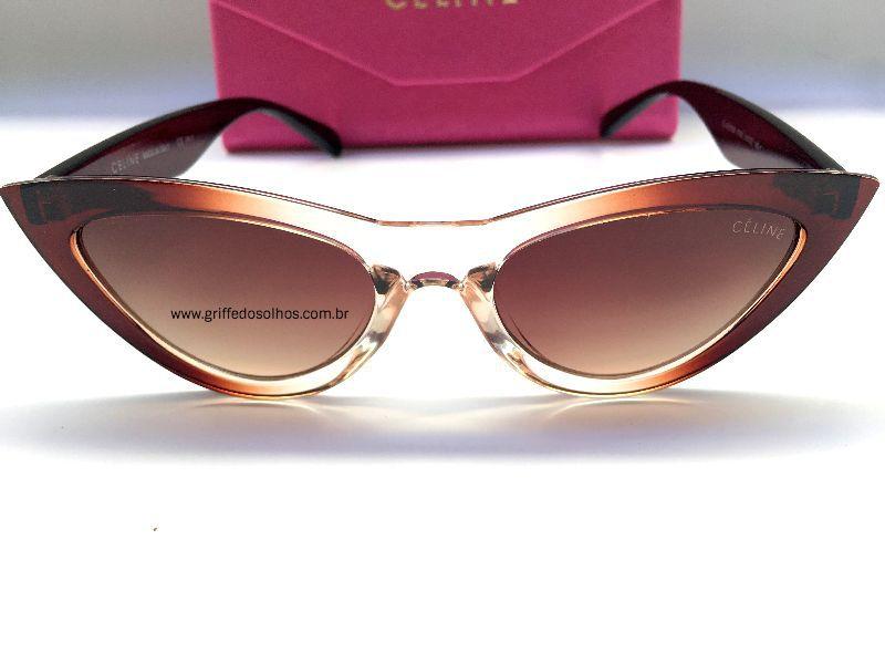 Cat Eye Céline Paris - Óculos de Sol Gatinho Marrom Degrade