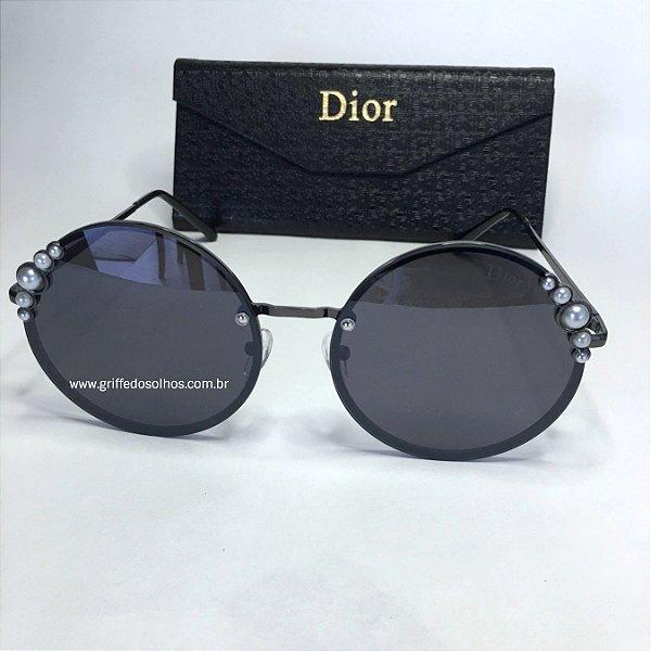Dior Redondo Preto  Ribbon and Pearls  Perolas - Oculos de Sol