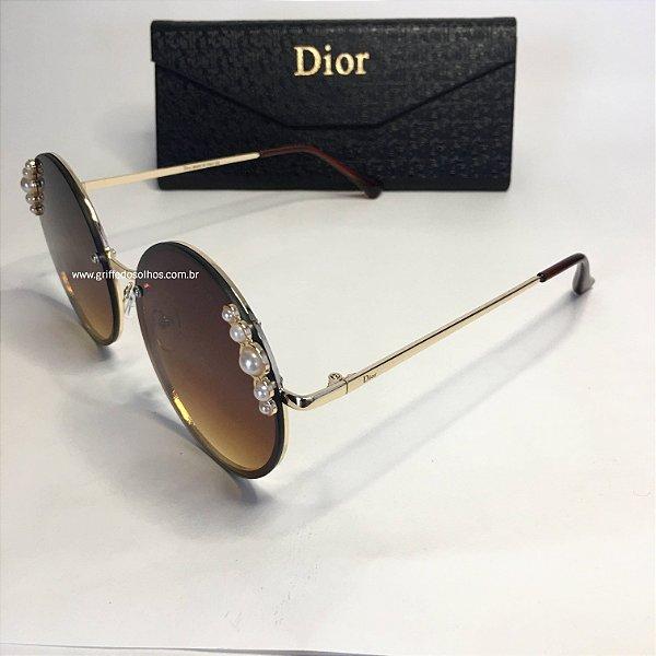 Dior Redondo Marrom  Ribbon and Pearls  Perolas - Oculos de Sol