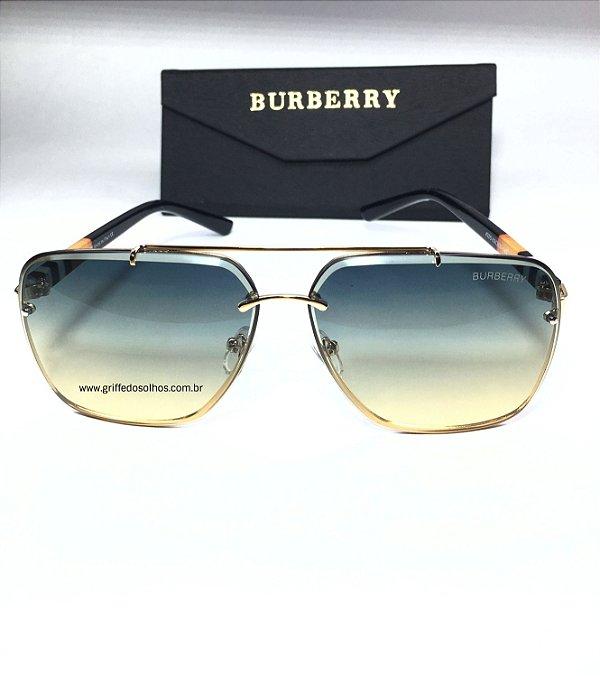 Óculos de Sol Burberry - Aviador  Lente Verde Degradê