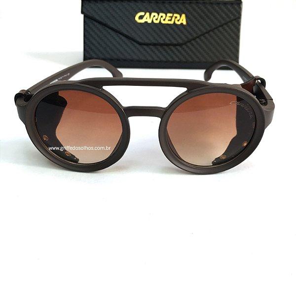 Carrera Óculos de Sol Redondo / Oculos Marrom com  Detalhes em Couro