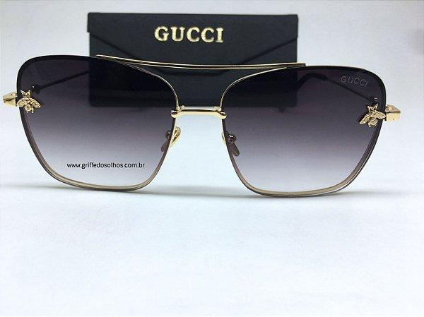 Óculos Gucci Bee Quadrado Lançamento Abelha Preto