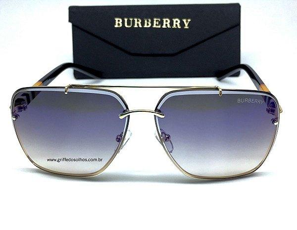 Óculos de Sol Burberry - Aviador  Lente Azul Degrade  Espelhado