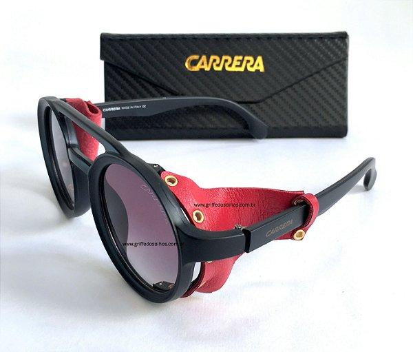 Carrera Óculos de Sol Redondo / Oculos Preto com  Detalhes em Couro Vermelho