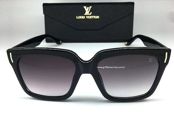 Oculos de Sol Louis Vuitton Preto Quadrado Unissex
