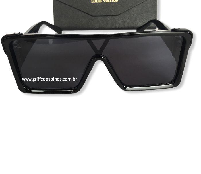Óculos Quadrado Louis Vuitton Square - Armação Preta Brilhosa / Lente Preta