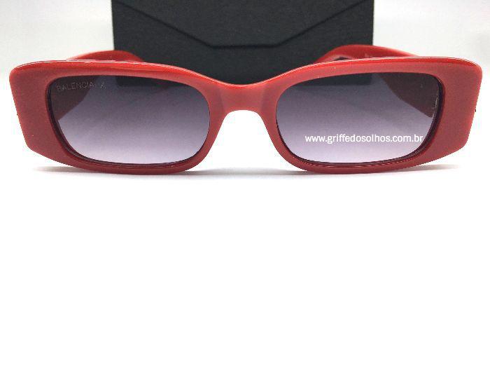 Óculos Retangular Balenciaga Dynasty 621643 - Vermelho