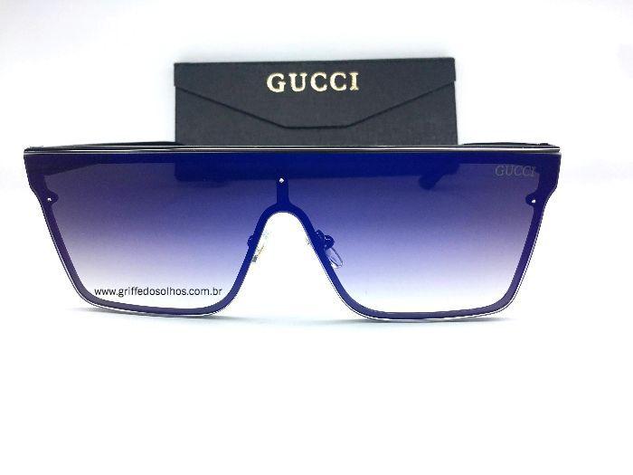 Óculos Gucci Elite Quadrado Azul - Óculos de Sol / Espelhado