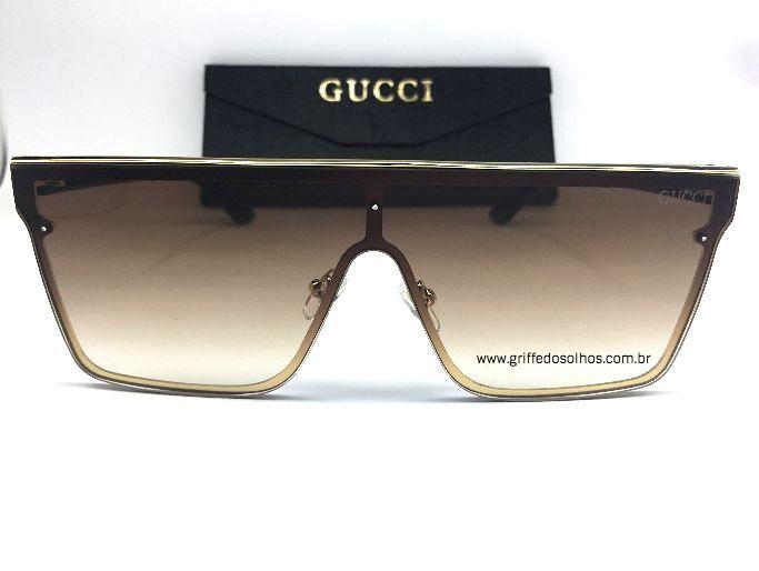Óculos Gucci Elite Quadrado  Marrom - Óculos de Sol