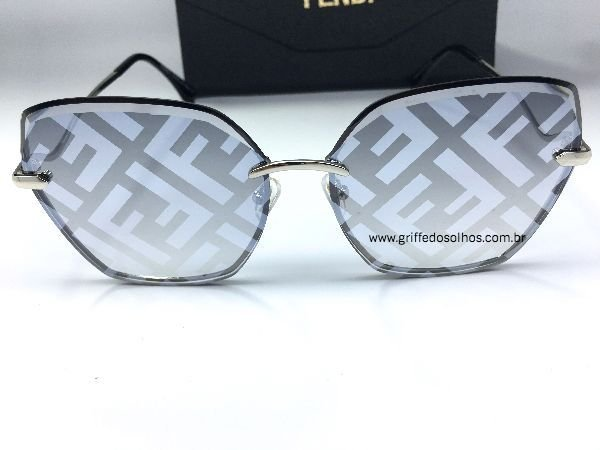 Oculos de Sol Espelhado Fendi - Escrita Logo Fendi na Lente
