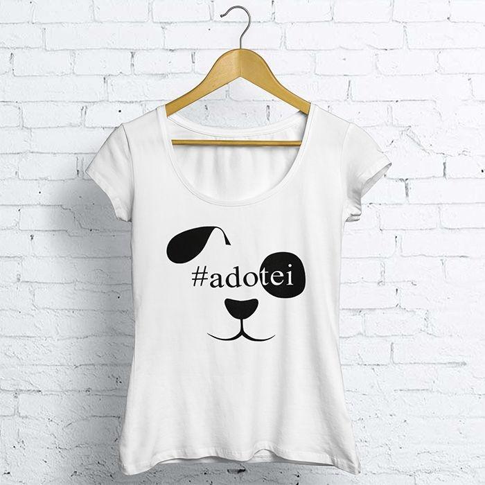 T-Shirt Canoa m/c #Adotei Feminino