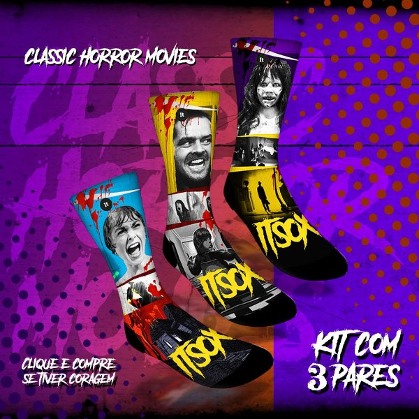 Kit 3 Pares - Classic Horror Movies - Meias ItSox