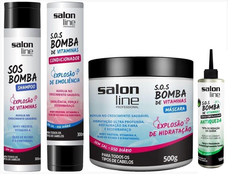 Combo Bomba Salon Line Tratamento Completo 4 Itens Antiqueda