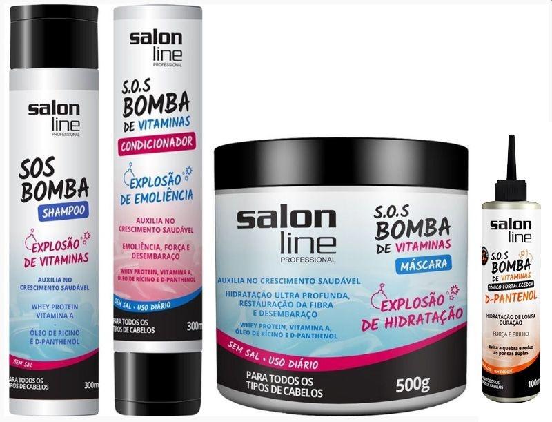 Combo Bomba Salon Line Tratamento Completo 4 Itens Pantenol