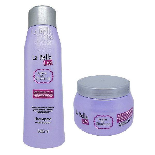 Kit Matizador Loira no Chuveiro Shampoo 500ml + Máscara 500g