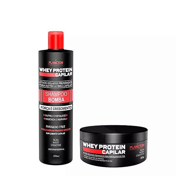 Kit Whey Protein Plancton Shampoo 250ml e Máscara 250g