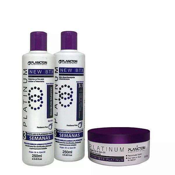 Kit BTX Platinum Plancton Shampoo, Condicionador e btx 250g