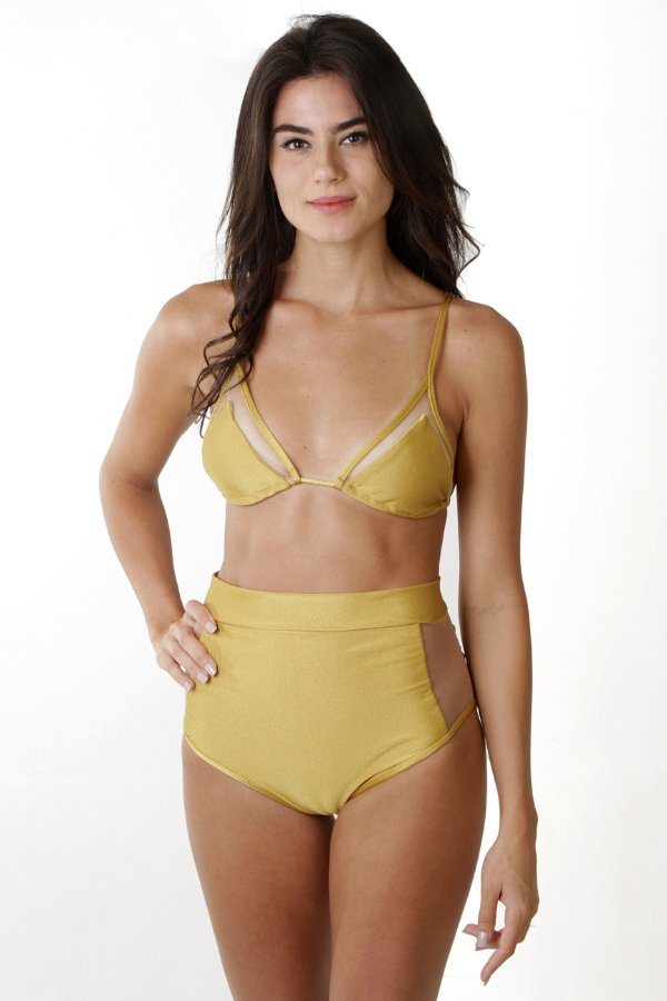 Top Tule Maya - Hot Pants Tule Maya - Liso Dourado