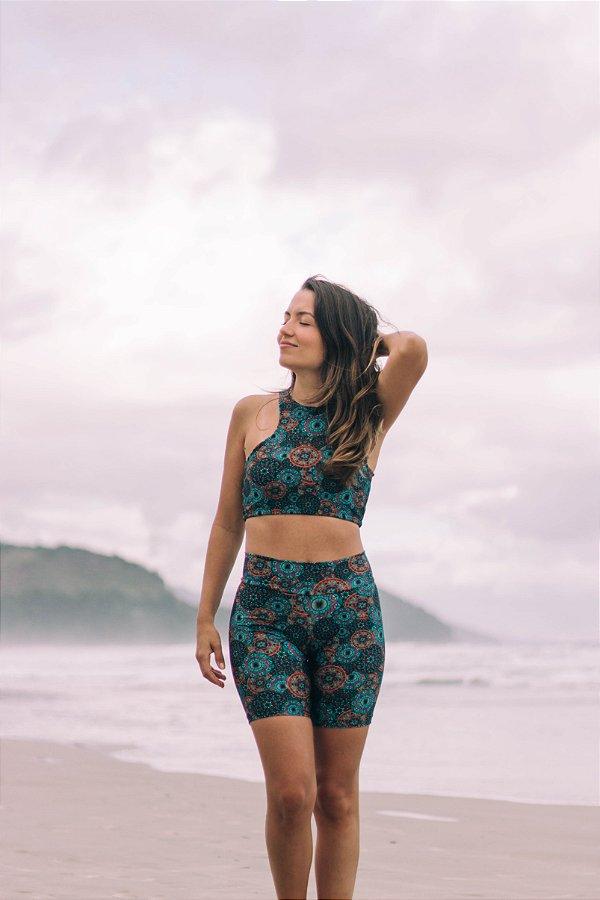 Top Cropped Búzios - Shorts Carmel - Estampa Mandala Turquesa