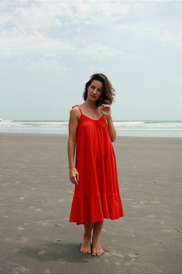 Vestido Alça - Liso Vermelho