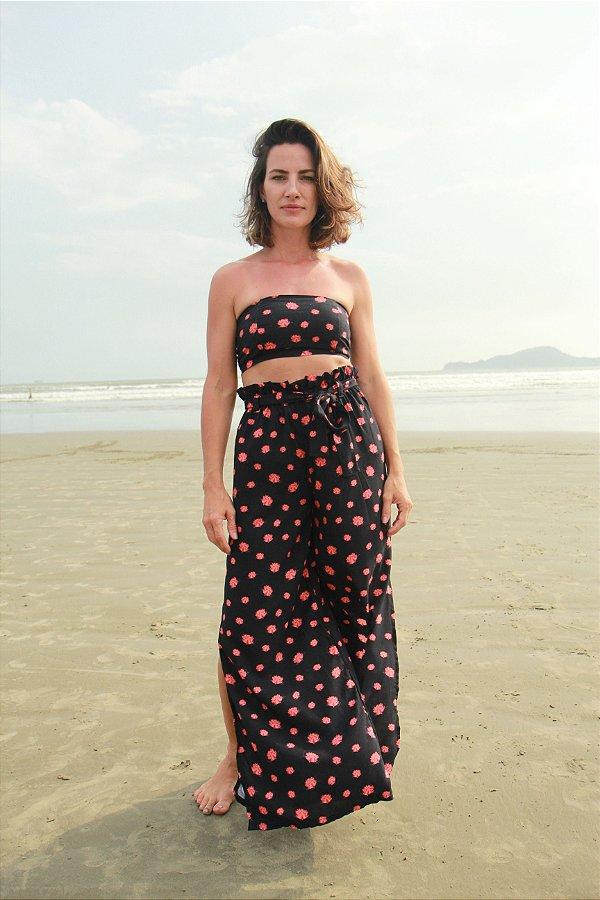 Calça Pantalona - Top Viscose - Estampa Gaia