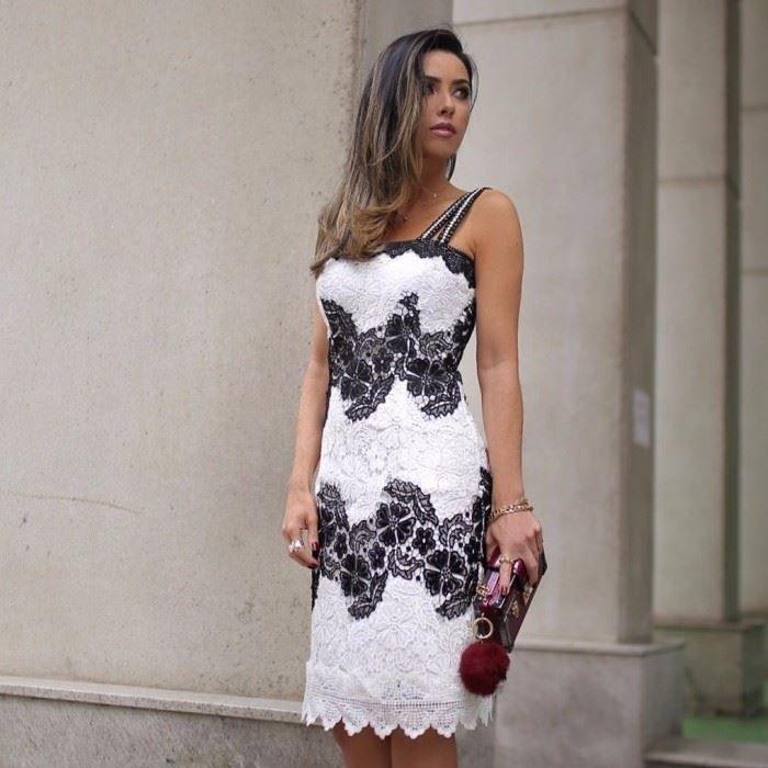 Vestido Renda Guipure Bicolor