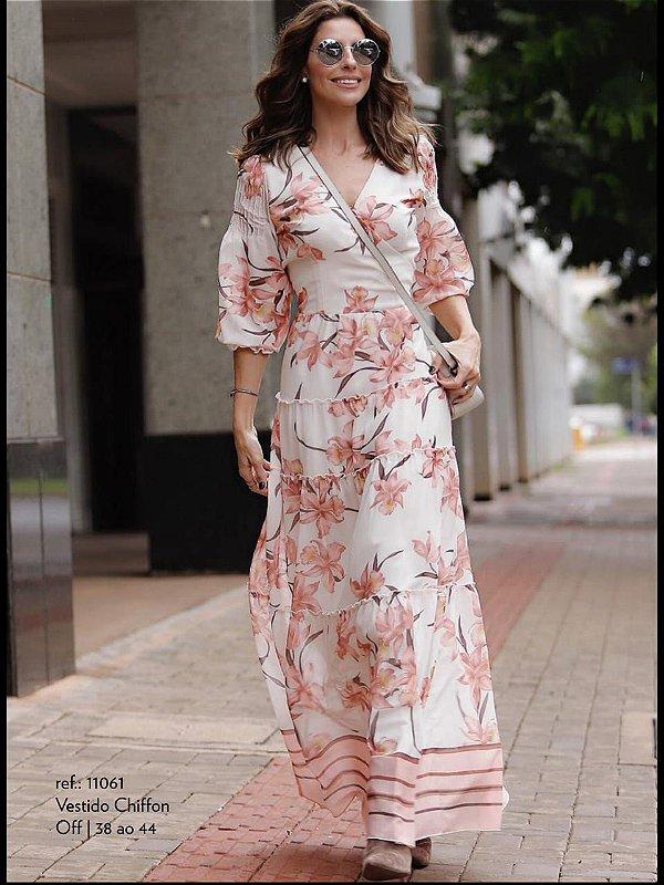 Vestido Chiffon Floral Longo