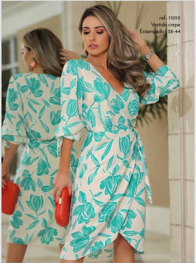 Vestido Crepe Print Floral Azul
