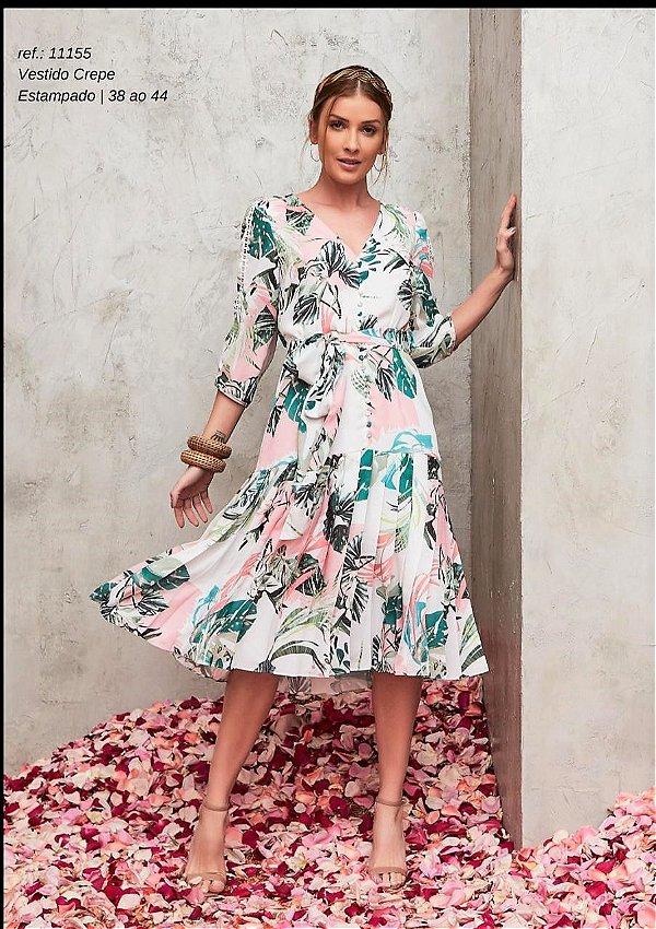 Vestido Crepe Floral Pregas