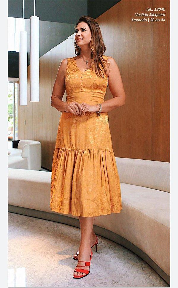 Vestido Jacquard Dourado