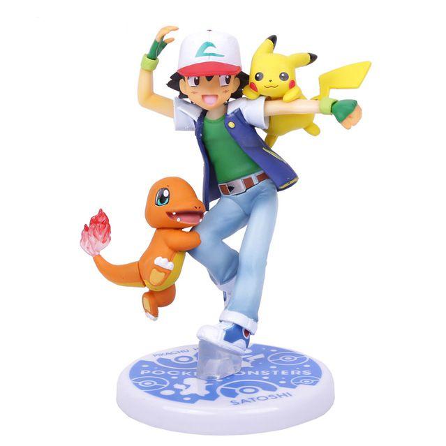 Boneco Ash - Pikachu e Charmander - Pokemon