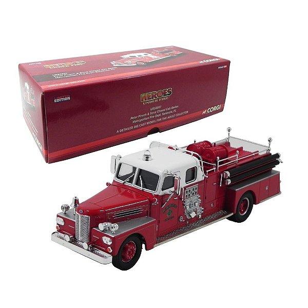 Caminhão Bombeiros Peters Pirsch And Sons Closed Cab Sedan Metropolitan Fire Department Sarasota Fl 1/50 Corgi Us53607