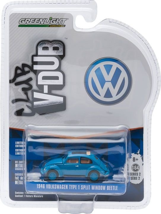 1946 VOLKSWAGEN FUSCA TYPE 1 SPLIT WINDOW BEETLE CLUB V-DUB 1/64 GREENLIGHT 29820