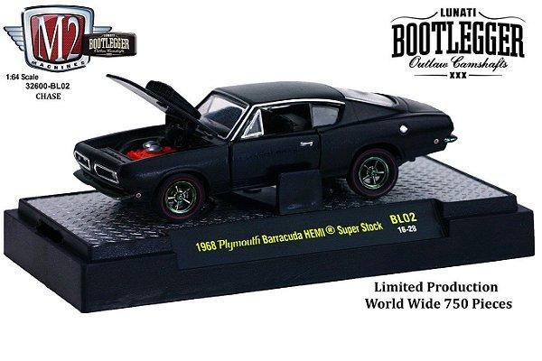 1968 Plymouth Barracuda Hemi Super Stock 1/64 M2 Machines 32600 Release Bl02 Lunati Bootlegger M2M32600-Bl02C