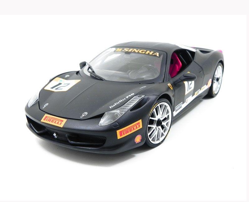 Ferrari 458 Challenge Matt Black 1/18 Hot Wheels Bct90
