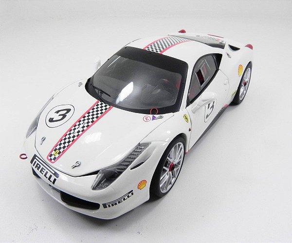 Ferrari 458 Itália Challenge Branca 1/18 Hot Wheels Elite X5487