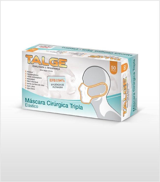 Máscara Descartável Tripla com Elástico (Pacote C/ 50 Unid)