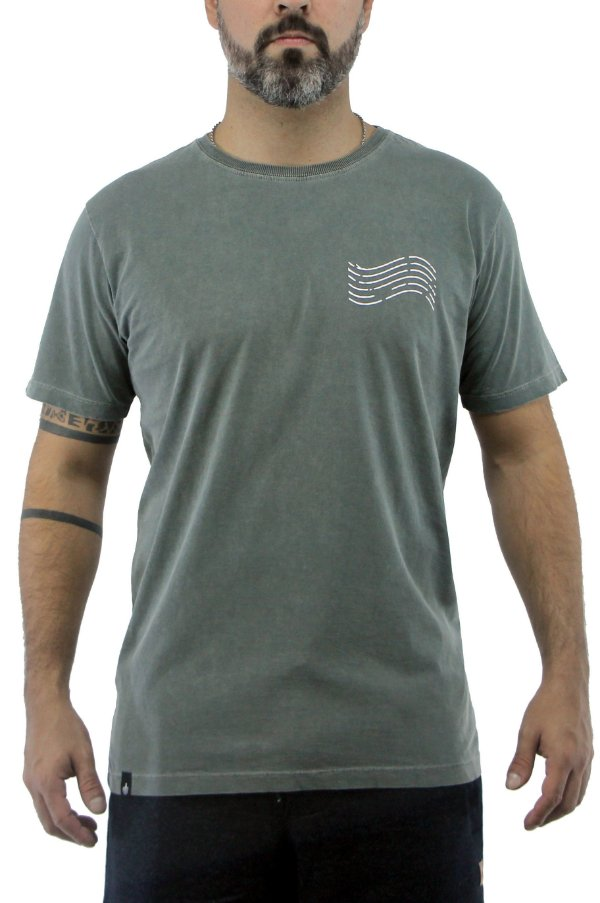 Camiseta Masculina Marmorizada Verde Militar Curvina