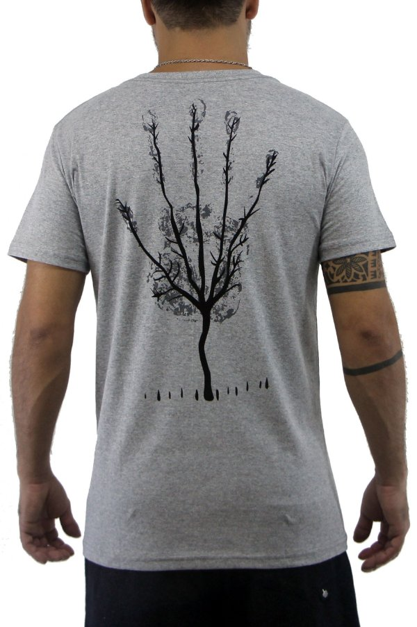 Camiseta Masculina Cinza New Hand Tree